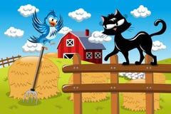 Cartoon cat hunting bird at the farm Stock Photos
