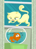 Cartoon cat hunting fish vector Stock Image