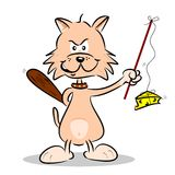 A cartoon cat hunting mice Stock Photography