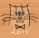 Cartoon cat illustration. For 2011 Royalty Free Stock Images