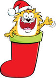 Cartoon cat inside a stocking. Royalty Free Stock Photo
