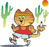Cartoon cat jogging. Royalty Free Stock Photography