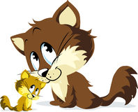 Cartoon cat and kitten Royalty Free Stock Image