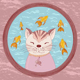 Cartoon cat looking in goldfish bowl Stock Photography