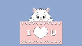 Animated cat. Short animation of a cute cat with big eyes appearing behind a love card. i love you written on a pink background royalty free illustration