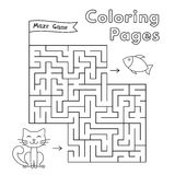 Cartoon Cat Maze Game. Vector coloring book pages for children Stock Image