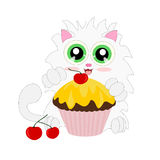 Cartoon cat with muffin Royalty Free Stock Photography