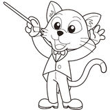 Cartoon Cat Music Conductor. Black and white Royalty Free Stock Photos