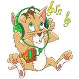 Cartoon cat music headphones Royalty Free Stock Images