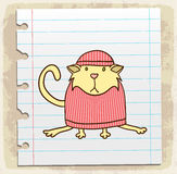 Cartoon cat on paper note, vector illustration Stock Photos