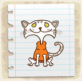 Cartoon cat on paper note, vector illustration Royalty Free Stock Image