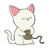 Cartoon cat playing with ball of yarn Royalty Free Stock Photos