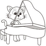 Cartoon Cat Playing a Piano Stock Photography