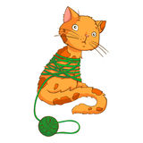 Cartoon cat playing with thread Royalty Free Stock Photography