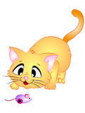 Cartoon Cat Playing with Toy Mouse Royalty Free Stock Photo