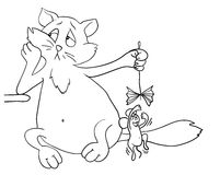 Cartoon cat plays with a mouse, vector Stock Photos