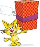 Cartoon Cat With Present Stock Photo