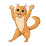 Cartoon cat raising hands Royalty Free Stock Images