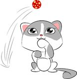 Cartoon cat with red ball Royalty Free Stock Images