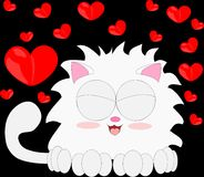 Cartoon cat with red heart 6 Royalty Free Stock Image