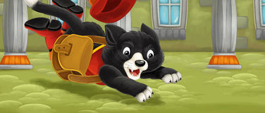 Cartoon cat - running and jumping hunting on royal mouse Stock Photography