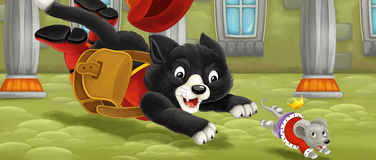 Cartoon cat - running and jumping hunting on royal mouse Royalty Free Stock Photos