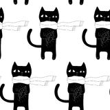 Cartoon Cat Seamless Pattern Stock Images