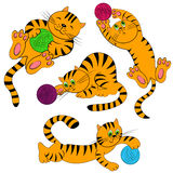 Cartoon cat set. pet kittens Royalty Free Stock Images