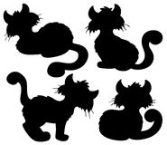 Cartoon cat silhouette collection Royalty Free Stock Photos