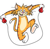 Cartoon cat with skipping rope