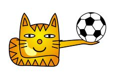 A cartoon cat with a soccer ball. A funny drawing. Football. Vector graphics Royalty Free Stock Photo