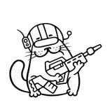 Cartoon cat space marine with large plasma gun. Vector illustration. stock images