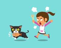 Cartoon cat stealing fish from woman Royalty Free Stock Photos