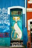 Cartoon Cat Street Art. VALPARAISO - NOVEMBER 07: Cartoon Cat Street art in the districts of the protected UNESCO World Heritage Site of Valparaiso on November 7 stock photos