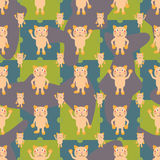Cartoon cat symmetry fish seamless pattern Royalty Free Stock Photos