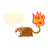 Cartoon cat with tail on fire Royalty Free Stock Photo
