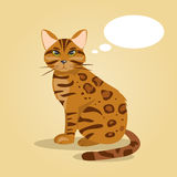 Cartoon cat thinks. Vector Illustration Stock Image