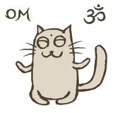 Cartoon cat Tik sits immersed in nirvana. Om sign and symbol. Vector illustration. Cute pet character Stock Photo