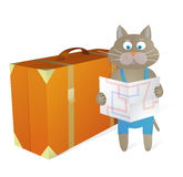 Cartoon cat traveling Stock Photos