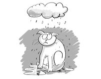 Cartoon cat under gloomy cloud stock image