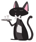 Cartoon cat waiter Stock Photo