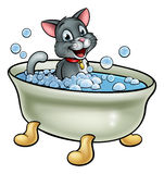 Cartoon Cat Washing in the Bath. A cartoon cat washing in the bath with bubbles Stock Images