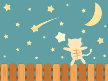 Cartoon cat watching falling star funny illustration Royalty Free Stock Photography