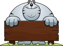 Cartoon Cat Wood Sign Royalty Free Stock Photos