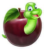 Cartoon Caterpillar In Apple. An illustration of a happy cute cartoon green caterpillar worm mascot coming out of an apple Stock Photography