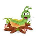 Cartoon caterpillar on cutting tree Royalty Free Stock Images