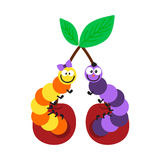 Cartoon caterpillar insect vector illustration. Element of fauna fun happy animal character graphic. Nature design colorful garden bug with many legs Stock Photos