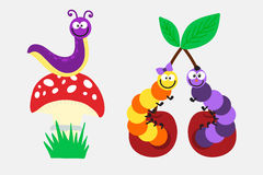 Cartoon caterpillar insect vector illustration. Element of fauna fun happy animal character graphic. Nature design colorful garden bug with many legs Stock Photo