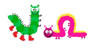 Cartoon caterpillar insect vector illustration. Element of fauna fun happy animal character graphic. Nature design colorful garden bug with many legs Royalty Free Stock Photography