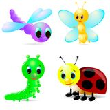 Cartoon caterpillar, ladybird, dragonfly, 3d butterfly. On white background, with shadow Stock Images